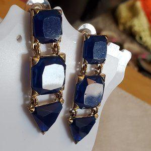 Silver Tone Navy Blue Glass Dangle Stud Earrings